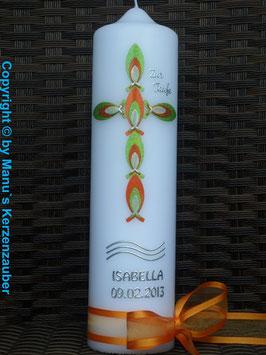 Taufkerze TK515 Fischekreuz Apfelgrün-Orange-Creme