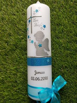 Taufkerze SK153 SCHUTZENGEL Türkis-Pastellblau Holoflitter / Silberschrift