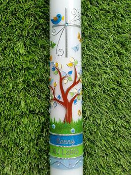 Kommunionkerze Lebensbaum Türkis-Apfelgrün-Hellblau Flitter & Silberschrift TK400-U