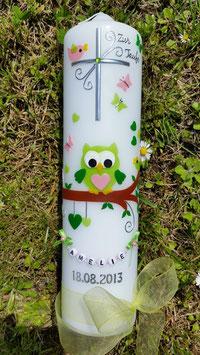 Taufkerze EULE das Original mit Buchstaben-Kette TK181 in Apfelgrün-Rosa-Grün Uni
