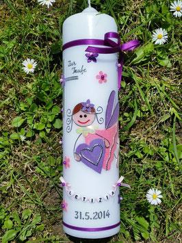 Taufkerze SK116 Schutzengel Mädchen Brombeerlila-Rosa-Flieder Flitter mit Blüten