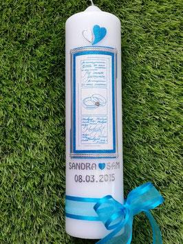 Hochzeitskerze HK101 Türkis-Weiß Holoflitter