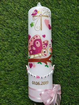 Taufkerze Schmetterling TK183 in Pink-Rosa-Gold mit Buchstabenkette/Rosa Satinschleife