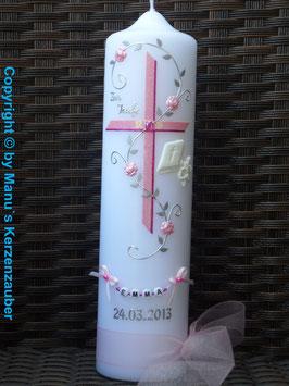 Taufkerze Kreuz & Gebetbuch TK200 Rosa-Pink Holoflitter