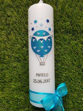Taufkerze TK105 Heißluftballon in Türkis-Hellblau-Dunkelblau Holoflitter / Silberschrift