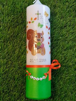 Taufkerze Eichhörnchen TK284-U Brauntöne-Apfelgrün-Orange-Gelb Holoflitter