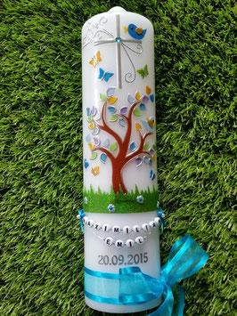 Taufkerzen Junge  Lebensbaum türkis mit Buchstabenkette  TK400-2