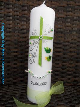 Taufkerze TK136 2 Vögelchen in Apfelgrün-Grün Holoflitter
