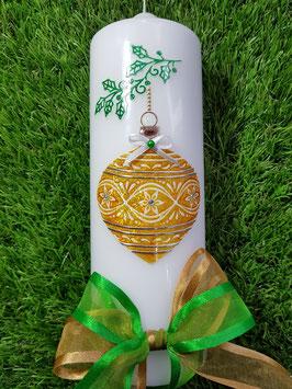 Weihnachtskerze WK108 Weiß-Gold-Grasgrün-Silber Holoflitter