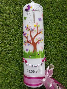 Taufkerzen  Lebensbaum mit Buchstabenkette in Pink TK400-2 / Doppelband
