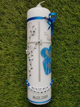 Taufkerze TK106 Klassisch Lichtblau Marmoriert/Silber