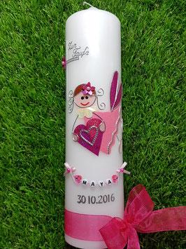 Taufkerze SK116 Schutzengel Pink-Rosa Holoflitter / Organzaband Pink