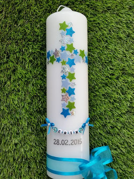 Taufkerze TK201 Kreuz Türkis-Hellblau-Apfelgrün-Silber Flitter & Buchstabenkette