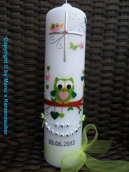 Taufkerze EULE das Original mit Buchstaben-Kette TK181 in Apfelgrün-Rosa-Grün Flitter