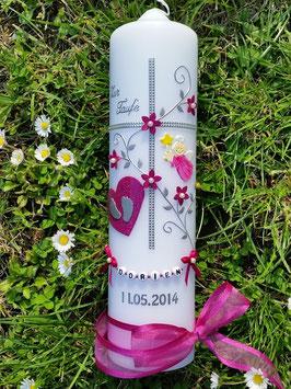 Taufkerze Kreuz TK109-5 Pink Holoflitter-Silber