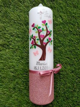 Taufkerze Lebensbaum TK400-FU Silber-Pink-Rosa-Pastellgrün-Apfelgrün-Grasgrün Holoflitter / Holoflitteruntergrund Altrosa