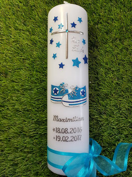 Taufkerze TK099 Babychucks Türkis-Dunkelblau Holoflitter / Kreuz Silber / Silberschrift