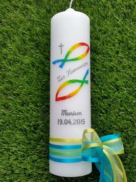 Kommunionkerze Konfirmationskerze Taufkerze KK269 in Regenbogen Farben