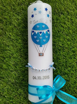 Taufkerze TK105 Heißluftballon in Türkis-Hellblau-Dunkelblau Holoflitter