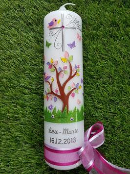 Taufkerze TK400 Lebensbaum mit Buchstabenkette/ Bänder Rosa-Pink
