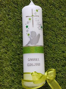 Taufkerze SK154-1 SCHUTZENGEL sitzend Apfelgrün-Grasgrün Holoflitter & Silberschrift