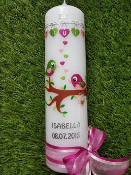 Taufkerze Vögelchen TK 214 Pink-Rosa-Apfelgrün Holoflitter / Silberschrift