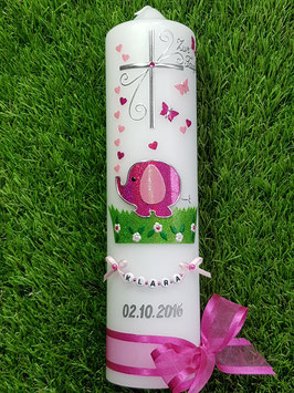 Taufkerze Elefant TK210-1 & Buchstabenkette Pink-Rosa Flitter/Herzen farblich gemischt