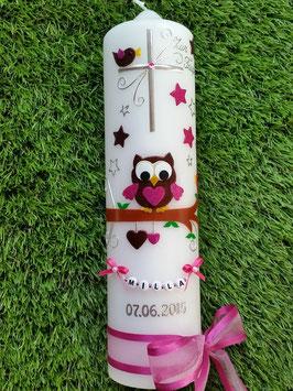 Taufkerze EULE das Original mit Buchstaben-Kette TK181 mit Sterne in Braun-Pink Flitter