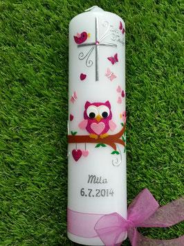 Taufkerze EULE das Original mit Silberschrift TK180 in Pink-Rosa Flitter