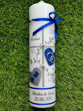 Hochzeitskerze HK109-1 DunkelblauHoloflitter mit Silber