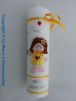 Taufkerze SK102 Schutzengel Mädchen Gelb Flitter / Silberschrift