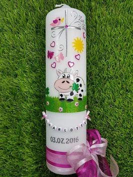 Taufkerze TK280 Kuh Rosa-Pink Holoflitter