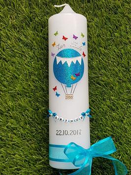 Taufkerze TK105 Schmetterlinge Heißluftballon in Türkis - Bunt Holoflitter