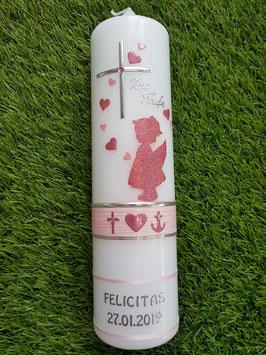 Taufkerze SK154-a SCHUTZENGEL Rosa-Altrosa Holoflitter / Engel in Altrosa / Glaube-Liebe-Hoffnung & Herzen / Silberschrift / 2 schmale Bänder