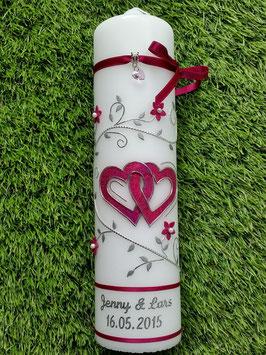 Hochzeitskerze HK204 Klassisch Pink Holoflitter
