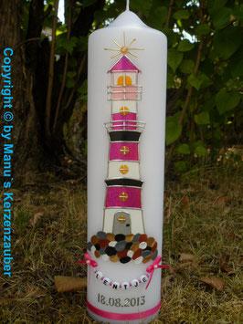 """Taufkerze TK304 """"Leuchtturm"""" Pink mit Buchstabenkette"""