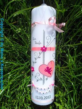 Taufkerze TK102 Klassisch Rosa-Pink Flitter mit Engel