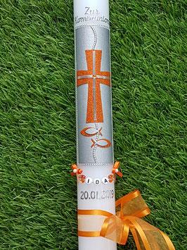 Kommunionkerze oder Konfirmationskerze KK262 / Orange Holoflitter / Buchstabenkette