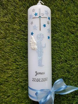 Taufkerze SK154-3 SCHUTZENGEL Junge Hellblau Glitzer-Türkis / 3D Flügel