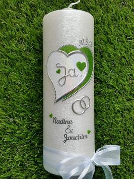 Hochzeitskerze HK223 Herzschatten Apfelgrün & Weiß Holoflitter