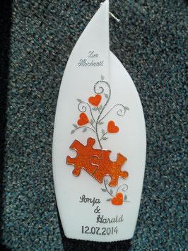 Flammenform Hochzeitskerze Puzzleteile HKS210-1