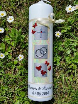Sehr edle Hochzeitskerze HK210 Perlmutt Creme-Rot Flitter-Silber mit Schmetterlingen