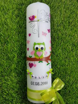 Taufkerze EULE das Original mit Buchstabenkette TK181 in Apfelgrün-Rosa-Pink Flitter / Apfelgrüne Schleifen