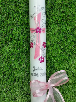 Kommunionkerze Kreuz KK407 Rosa-Pink Holoflitter