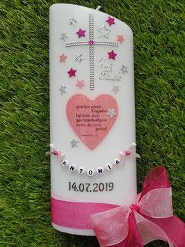 Taufkerze TK093 Herz mit Spruch & Sterne in Rosa-Pink-Silber Holoflitter