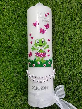 """Taufkerze TK282 """"Froschmädchen"""" in Apfelgrün-Pink Holoflitter / Weiße Schleife"""