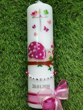 Taufkerze Schneckchen TK182-6 in Pink-Rosa Holoflitter mit Kreuz & Doppelschleife / Buchstabenkette