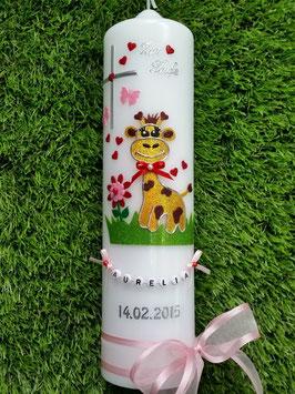 "Taufkerze TK278 ""Giraffe"" in Gelb-Braun-Rot-Rosa Flitter"
