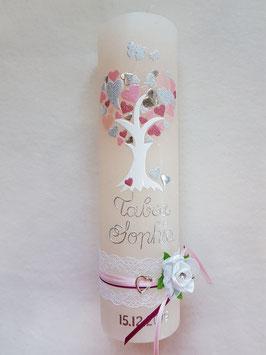 Vintage Rustic Taufkerze Lebensbaum TK405-V / Kerze in Apricot / Rosa-Zartrosa-Silber-Altrosa Holoflitter