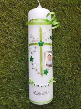 Taufkerze TK102-2 Apfelgrün-Grasgrün Holoflitter mit Sterne & Foto